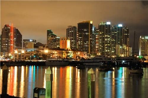 Amazon Com San Diego Skyline At Night Glossy Poster Picture Photo California Downtown Prints Posters Prints