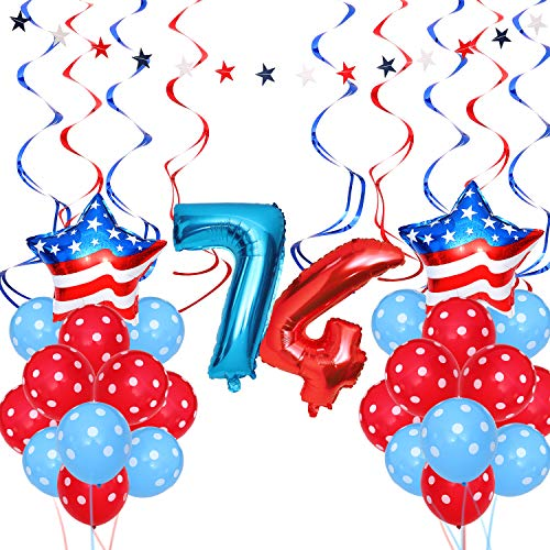 Day Latex Balloon - 37 Pieces Independence Day Party Decoration Patriotic Decorations Star Shape Balloons Dot Print Latex Balloons for 4th of July Party Supplies