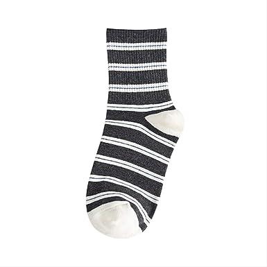 QZF Calcetines de rayas medias de otoño e invierno para mujer 100 calcetines de algodón 5 pares Código promedio Negro: Amazon.es: Ropa y accesorios