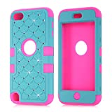 Vogue Shop Apple iPod Touch 5 Bumper Slim Hard Back Case Cover Diamond design Durable Hybrid 3 in 1 with Clean Cloth Dual Layer Lattice (Teal Rose)