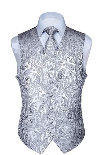 HISDERN Men's Paisley Floral Jacquard Waistcoat & Neck Tie and Pocket Square Vest Suit Set Gray