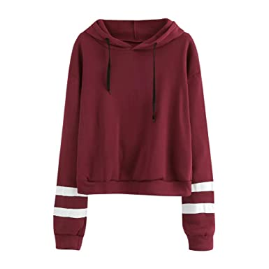 Clearance ❤ Women Sweatshirt JJLIKER Simple Striped Loog Sleeve Hooded Casual Pullover Top Blouse (Wine