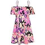 Girls Skater Dress Kids Floral Print Summer Party - Off Shoulder Dress Camo Baby Pink 13