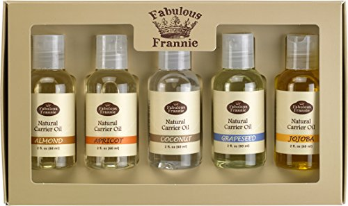 Carrier Oil 5 Pack #1- All Natural ingredients - This Kit Includes Almond, Apricot, Coconut, Grapeseed, and Jojoba Carrier Oils (Best Carrier Oil For Making Essential Oils)
