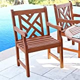 Cheap VIFAH V187 Outdoor Wood Arm Chair, Natural Wood Finish, 23 by 23 by 37-Inch