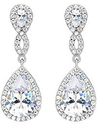 Women's 925 Sterling Silver Zircon Wedding 8-Shaped Infinity Pierced Dangle Earrings Clear