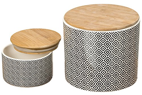 The Gastro Chic Ikat Kitchen Jars, Set of 2, For Cookies, Dry Goods, Canisters, White Glazed Ceramic, Wooden Tops, Rustic Black and White, 5 and 7 Inches Diameter, By WHW - Treat Jar Black And White