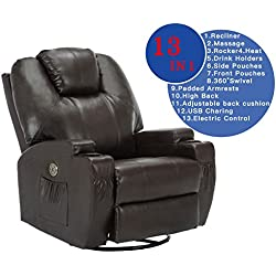 SUNCOO Leather Electric Massage Chair Heated Recliner Sofa with Cup Holder Body Ergonomic 360 Degree Swivel (Brown-13 IN 1)