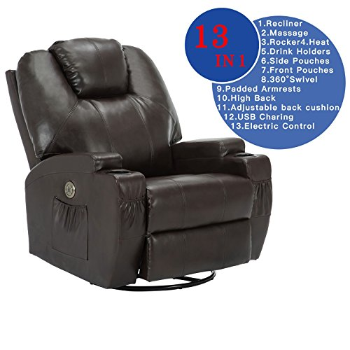 Recliner Ergonomic Leather (SUNCOO Leather Electric Massage Chair Heated Recliner Sofa with Cup Holder Body Ergonomic 360 Degree Swivel (Brown-13 IN 1))