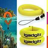 iGadgitz 2 Pack Neon Yellow Waterproof Floating Wrist Strap suitable for Underwater/Waterproof: Cameras, Video cameras, cases & housing, Marine binoculars + Waterproof Sony phones