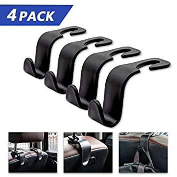 4pack Motionx 2 in 1 Car Hooks Vehicle Universal Car Back Seat Hooks-Car Headrest Hooks and Cell Phone Bracket Stand for Hanging Purse Grocery