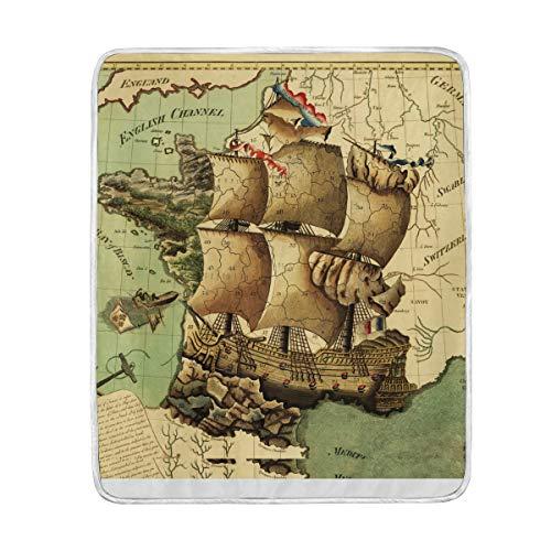 SKYDA Throw Blankets Vintage Map Sailboat Soft Warm