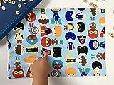 Children's Cotton Placemat (Superhero Boy) Handmade Cloth Dining Mat by pen&thimble
