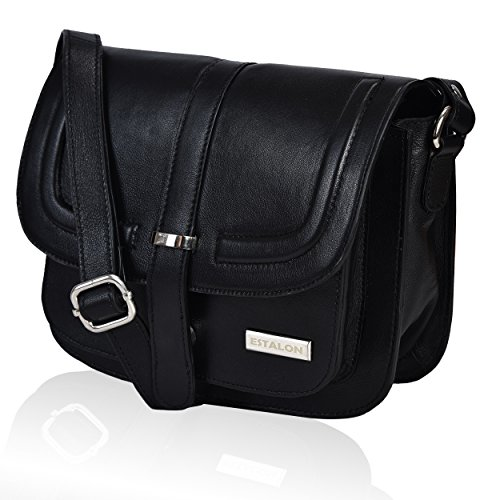 Women's Crossbody Purse Black Real-Leather - Small Crossover Multi Pocket Shoulder Purse, Spacious Travel Bag with Mobile Holder and Zipper