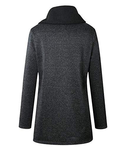 Anteriori Jacket Donna Comodo Cardigan Outdoor Manica Alto Invernali Con Coat Cerniera Especial Estilo Dunkelgrau Moda Tasche Giacca Lunga Collo HqvqwIp