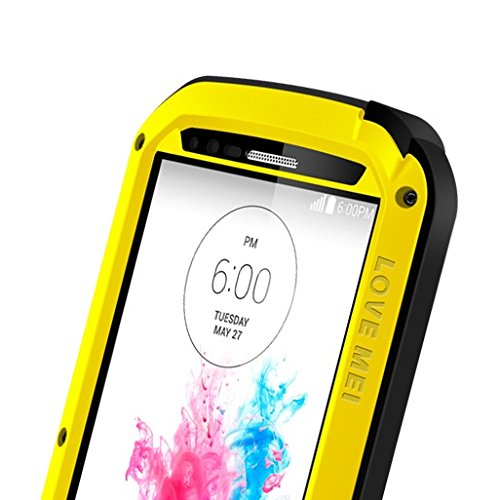 Love Mei Shockproof Water Resistant Dust/Dirt/Snow Proof Aluminum Metal Gorilla Glass Heavy Duty Protection Case Cover for LG G3 G 3 Yellow