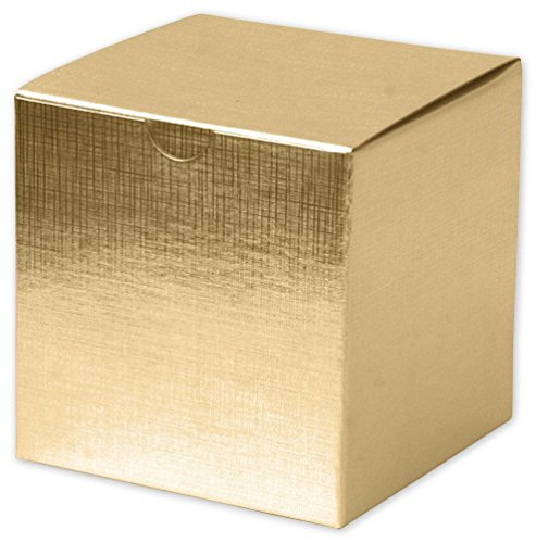 Solid Gift Box - Gold Linen Foil One-Piece Gift Boxes, 4 x 4 x 4'' (100 Boxes) - BOWS-541-444-15 by Miller Supply Inc