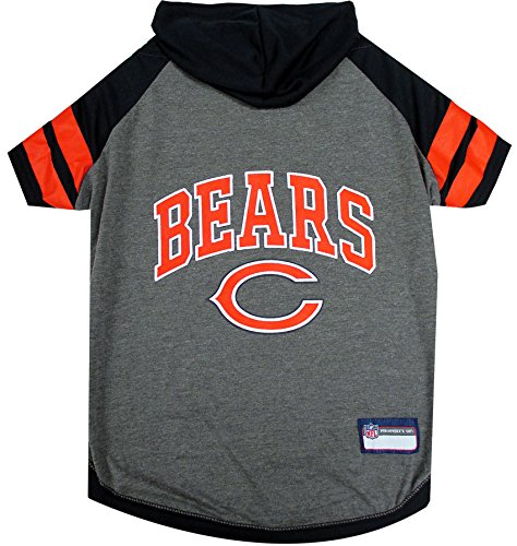 NFL Chicago Bears Hoodie for Dogs & Cats. | NFL Football Licensed Dog Hoody Tee Shirt, Large| Sports Hoody T-Shirt for Pets | Licensed Sporty Dog ()