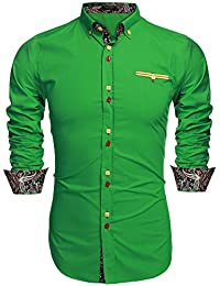 Amazon.com: Green - Casual Button-Down Shirts / Shirts: Clothing ...