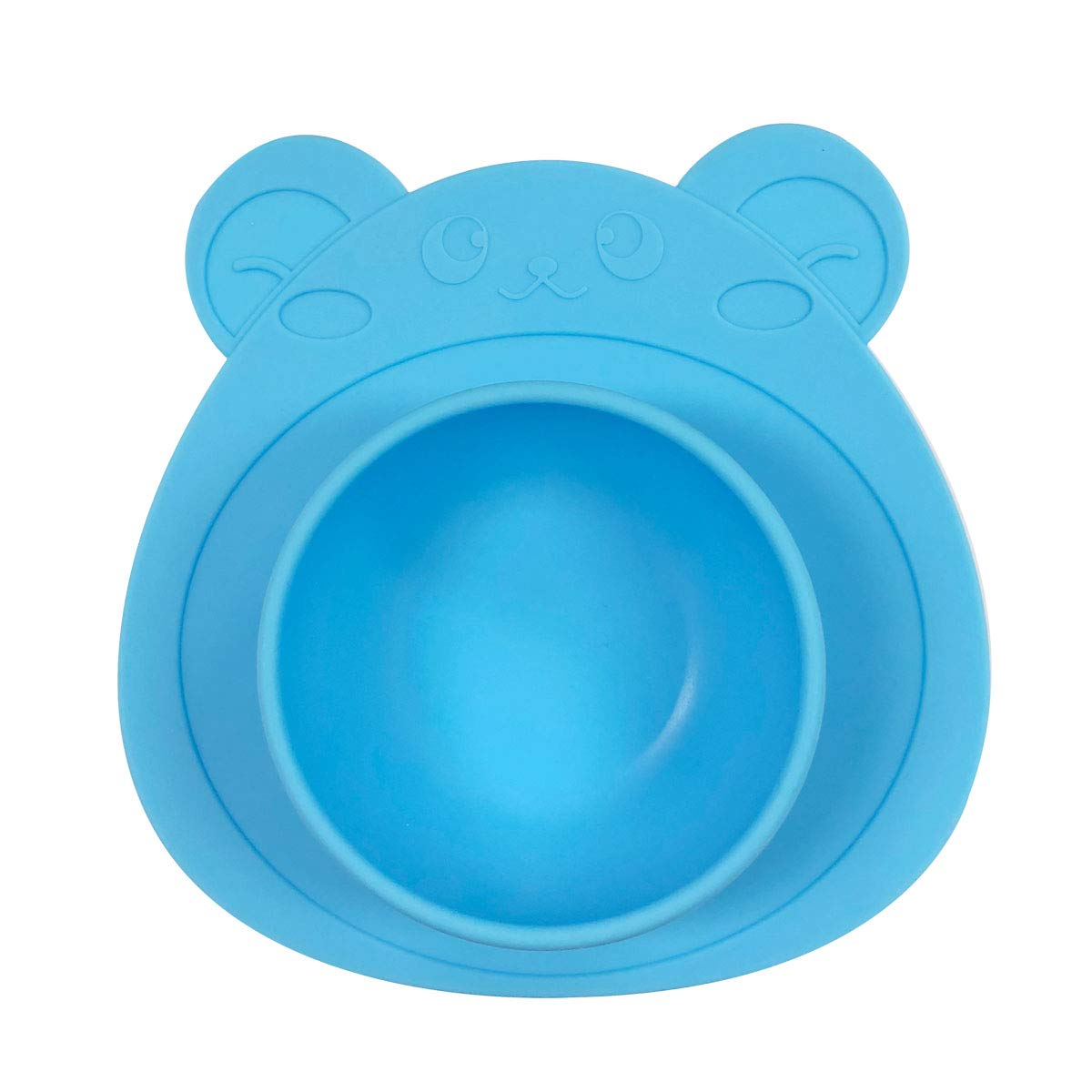 Wrapables Silicone Placemat + Suction Food Bowl for Baby, Blue Bear
