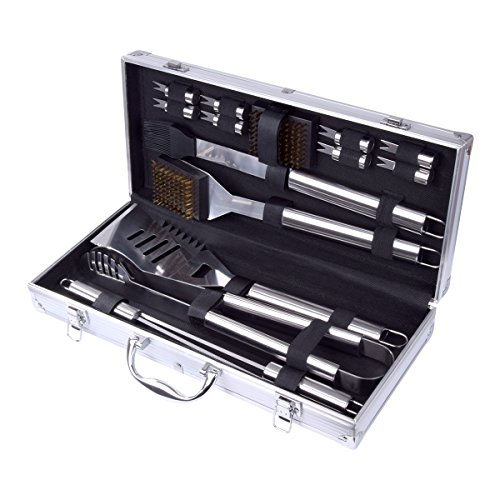 Home-Man 16-Piece BBQ Grill Tools Set-Barbecue Accessories with Aluminium Case-Professional Grade Stainless Steel Grill Utensils-Spatulas,Tongs,Forks Skewers,Knives,Brushes-Outdoor Grilling kit