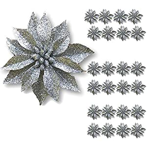 "BANBERRY DESIGNS Artificial Poinsettia Flowers – Set of 24 – 3 ¾"" Silver Glittered Poinsettia Clip On Ornaments – Christmas Decorations – Decorative Floral Accessories"