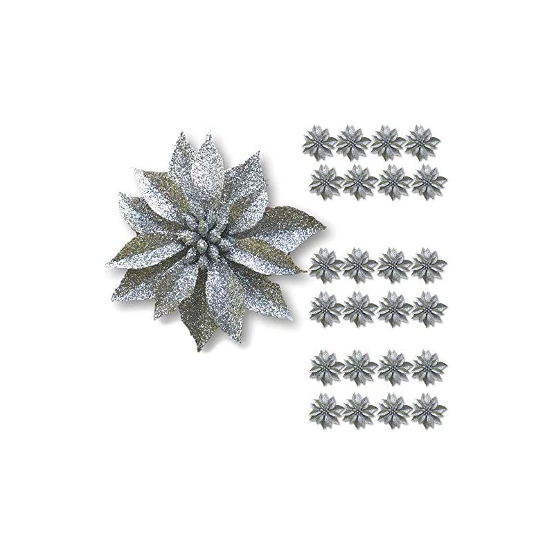 """silk flower arrangements banberry designs artificial poinsettia flowers - set of 24 – 3 ¾"""" silver glittered poinsettia clip on ornaments - christmas decorations - decorative floral accessories"""