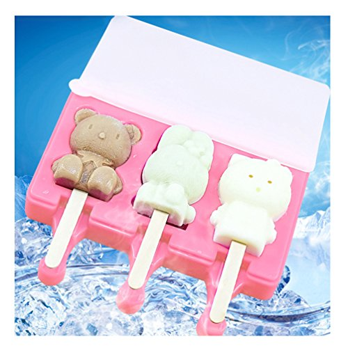 ENTOY Silicone Pop Molds, 3 Different Cartoon Animals Shaped Popsicle Molds in One Tray Easy-release Ice Cream Maker Kit