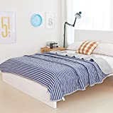 MisDress Ultra Soft Jersey Knit Cotton Comforter Queen Reversible Striped Duvet Thin and Lightweight Summer Quilt Blanket Navy Blue/Grey Full/Queen Size(80''x90'')