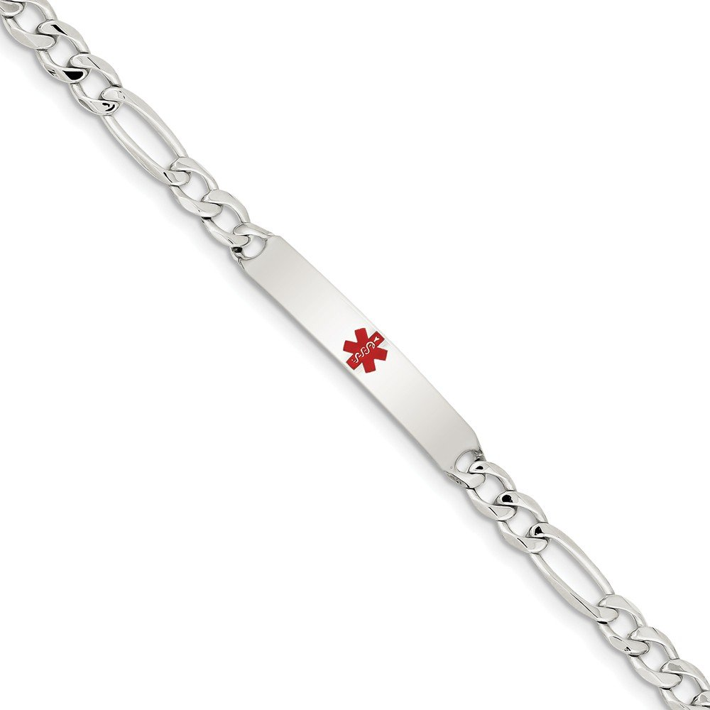 Top 10 Jewelry Gift Sterling Silver Polished Medical Figaro Anchor Link ID Bracelet