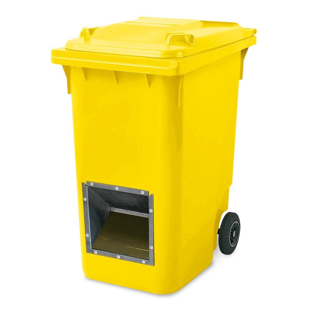Mobiler Streugutbehälter, Salzstreubehälter 360 Liter, mit Entnahmeöffnung, auch für Streusplit, gelb BRB