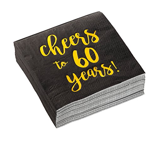 Birthday Party Cocktail Napkins - 50 Pack Gold Foil Cheers to 60 Years Disposable Paper Napkins, Perfect for 60th Birthday Party Supplies, Anniversary Decorations, 5 x 5 Inches Folded, Black -