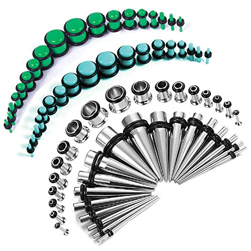 BodyJ4You 72PC Gauges Kit Green Blue Acrylic Plugs Stainless Steel Tapers 14G-00G Stretching Set