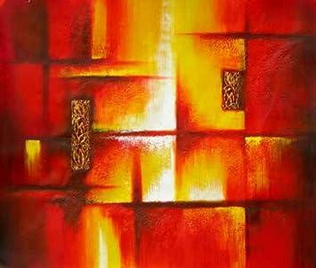 Tableau abstrait rouge jaune 60/90 cm. Toile abstraite horizontale ...