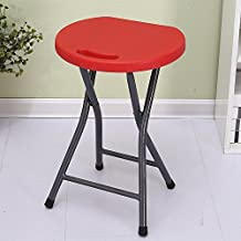 Folding stool / round bench / plastic portable stool / folding chair / home adult bar stool chair outdoor chair ( Color : Red )