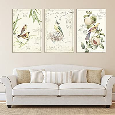 Beautiful Handicraft, 3 Panel Vintage Style Birds Flowers on Floral Background x 3 Panels, Made to Last