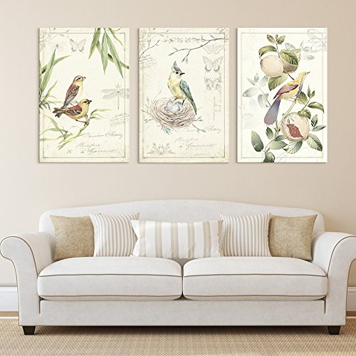 3 Panel Vintage Style Birds Flowers on Floral Background x 3 Panels
