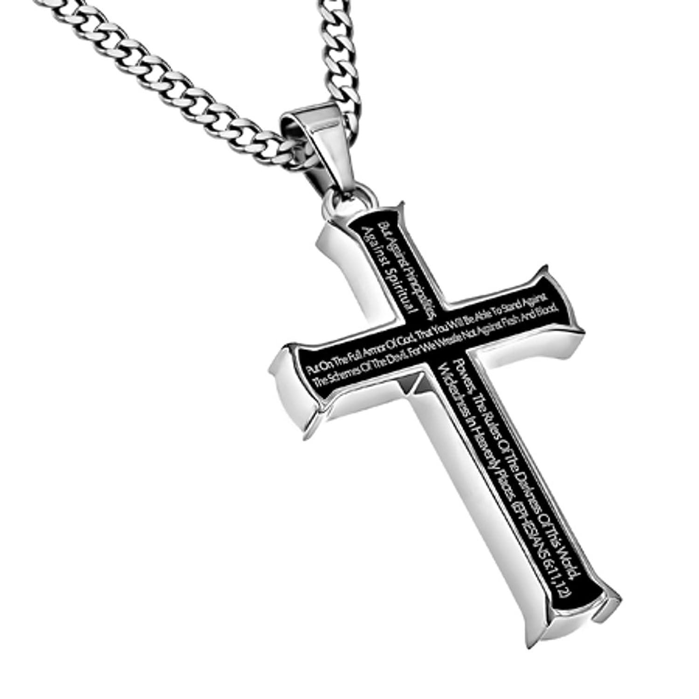 armor of god necklace men black steel cross pendant ephesians 6