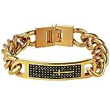 Cross Bracelet,Christian Jewelry,Men Bracelet,Link Bracelet,Christmas Gift for Him,Husband,Fathers Day,Groom,Groomsmen,Stainless Steel,18K Gold Plated,PSH2747J-21