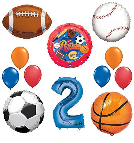 The Ultimate Sports Theme 2nd Birthday Party Supplies and Balloon Decorating Kit
