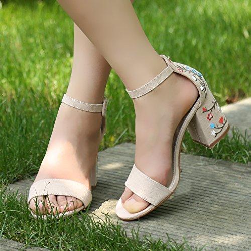 Eté Talons Femme Couleur Milan Hengsong À Épais Sandales Style Nue Hauts Chaussures Brodées a5Xdxdq