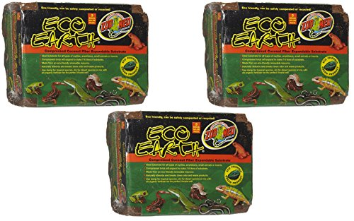Zoo Med Eco Earth Compressed Coconut Fiber Substrate, 9 Bricks Total (3 Packages containing 3 Bricks each) (Substrate Reptile)