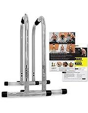 Lebert Fitness Dip Bar stativ – original equalizer total kroppsstärkare pull up bar hem gym träningsutrustning doppstation – höftmotståndsband, träningsguide och online-grupp