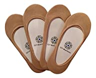 Q.T. Bamboo Women's No Show Organic Bamboo Invisible Sock Liners (4 Pack)