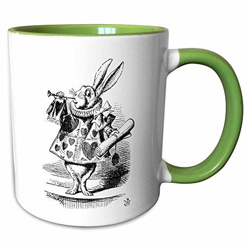 3dRose InspirationzStore Vintage Art - Alice in Wonderland White Rabbit in costume. John Tenniel illustration - 15oz Two-Tone Green Mug (mug_193795_12)