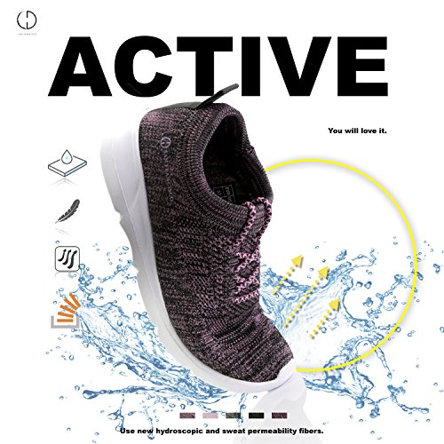 Memory Dailyshoes Slip 6207l Women's Mesh on Pink Walking Foam Shoes Sneakers gXqxU7FrnX