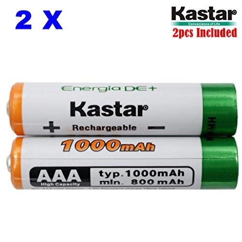 Kastar AAA 2-Pack Ni-MH 1000mAh Super High-Capacity Rechargeable Battery Pre-Charged for Panasonic HHR-4DPA HHR-55AAABU HHR-65AAABU, Out Door Solar Light, Solar Spinner, Solar Power Unite, Path Light