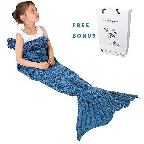 Amyhomie Childs and Kids Mermaid Tail Crochet Blanket, All Season Sleeping Bag includes customized gift bag , Multiple choices -