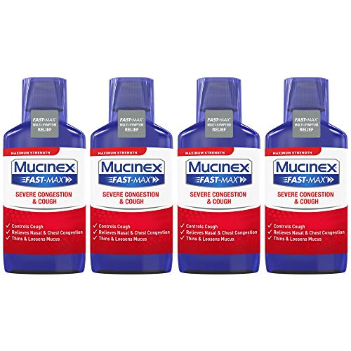 Mucinex Fast-Max Adult Severe Congestion and Cough Liquid, 9 oz (Pack of 4)