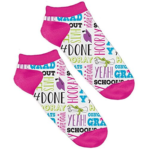 Remarkable Graduation Party No Show Socks - Phrases , Fabric -